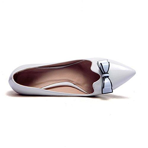 AllhqFashion Damen Ziehen auf Hoher Absatz PU Rein Spitz Zehe Pumps Schuhe Weiß