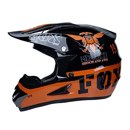 WZTYY Helmet Motocross Offroad Helmets Goggles Gloves Mask Set DOT Certification for ATV Dirt Bike MX Motorcycle Scooter Road Race,L ()