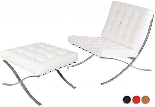 Stylesimo Barcelona Style Premium Lounge Chair and Ottoman with Stainless Steel Frame and High Density Foam Cushions(White, Italian (Barcelona Chair Set Ottoman)