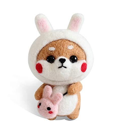 Xincu Needle Felting Kit - Arts and Crafts Wool Kit for Decorations, Ornaments Handcraft - Wool Felt Poked Set, Rabbit