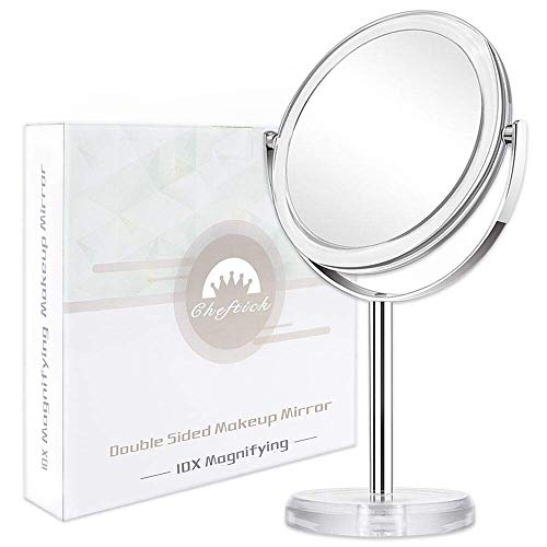 Cheftick Double Sided 1X & 10X Magnifying Makeup Mirror, Tabletop Magnified Vanity Mirror with 360 Degree Swivel for Bathroom or Bedroom, Transparent (Ornamental Mirrors)