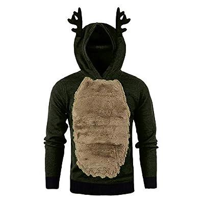 Realdo Men's Christmas Reindeer Hoodie, Mens Newest Xmas Sweatshirt Splice Warm Fur 3D Blouse Antlers Top