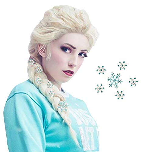 Anogol Hair Cap+Blonde Cosplay Wig Party Braid Hair Wigs for Costume Halloween with 6 Snowflakes for Princess Wig