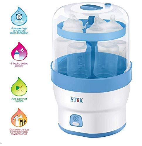 SToK BPA-Free for 6 Bottles 3 in 1 Electric Steam Sterilizer for Baby Feeding Bottle Accessories and Baby Food Steamer (White)