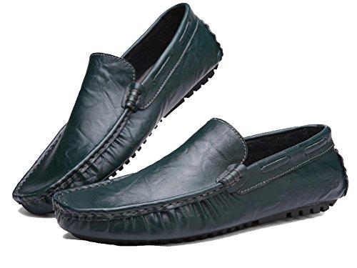 SONGYUNYAN Herren Outdoor-Freizeit fahren Slipper Leder Bootsschuh , green , 39