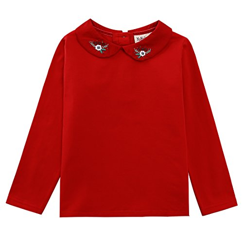 MOMOLAND Toddler Little Girls Long Sleeve Blouse Top Peter Pan Collar (Red, 3 Years) (Collar Long Sleeve Top)
