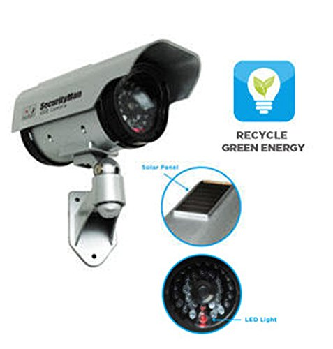 Security Man Solar-Powered Indoor/Outdoor Simulated Camera with LED (Silver)