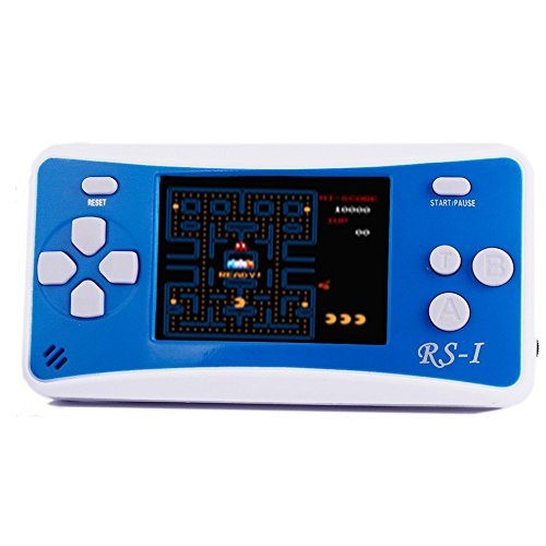 """JJFUN RS-1 Handheld Game Console for Children,Retro Game Player with 2.5"""" 8-Bit LCD Portable Video Games,The 80's Arcade Video Gaming System,Built-in 152 Classic Old School Games Entertainment-Blue"""