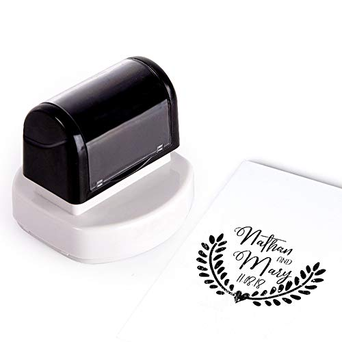 Personalized Wedding Stamps Decorative Invitation Postage Seal Forever Stamp Vintage RSVP Love Self Ink Clear Monogram Rubber Large | Customizable Name & Date - 10 Different Design 5 Different Color