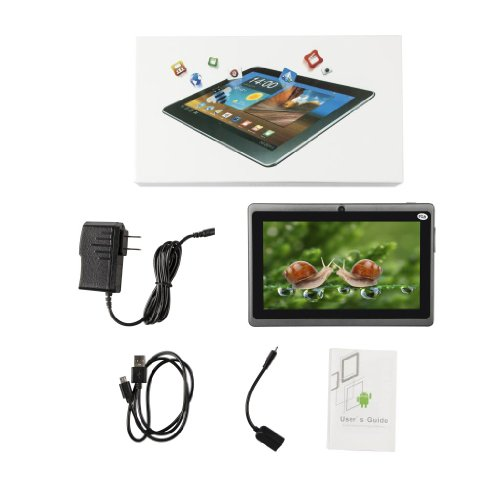 """Generic 7"""" A13 Google Android 4.0 OS 5 Point Capactive Touchscreen Tablet PC MID 512MB DDR 3 8GB Dual Camera Bundle Keyboard Black"""