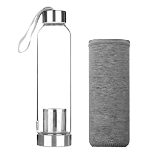 Fityle Glass Water Bottles: Stainless Steel Leak Proof Lid, Best As Reusable Drinking Bottle, Sauce Jar, Juice Beverage Container - gray, 20x6 cm