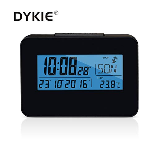 (DYKIE Global Radio Controlled Clock with Blue Backlight Digital Indoor Thermometer Portable Weather Stations Black Color)