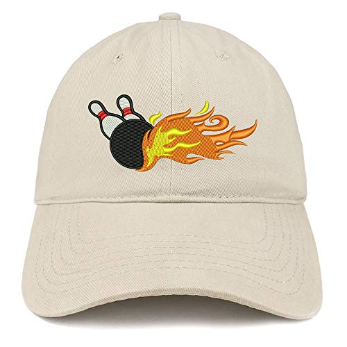 Trendy Apparel Shop Flaming Bowling Embroidered Unstructured Cotton Dad Hat - Stone