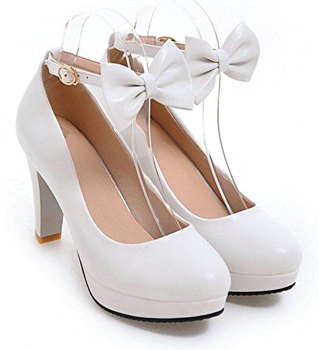 Aisun Donna Low Cut Tacco Grosso Tacco Alto Elegante Piattaforma Fibbia Inarcata Cinturino Alla Caviglia Pompe Scarpe Con Fiocco Bianco
