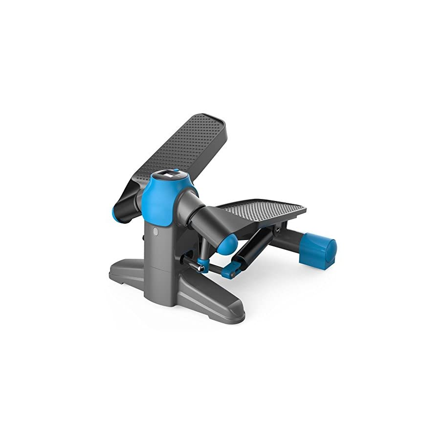 SereneLife Mini Fitness Exercise Machine Mini Elliptical Foot Pedal Stepper, Step Trainer Equipment w/Digital Display for Under Desk Workout, Weight Loss, Fitness & Health at Home & Office SLXS6