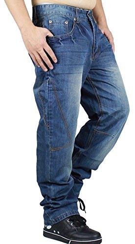 SMITHROAD Herren Jeans Hose Denim Jeanshose Baggy Style Chino Hip-Hop Skateboard Hipster Verwaschen Locker Sitzend