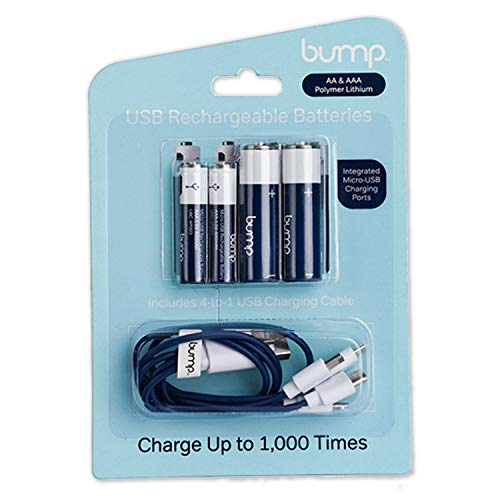 Bump AA/AAA USB Rechargeable Polymer Lithium Battery Combo 4 Pack ()