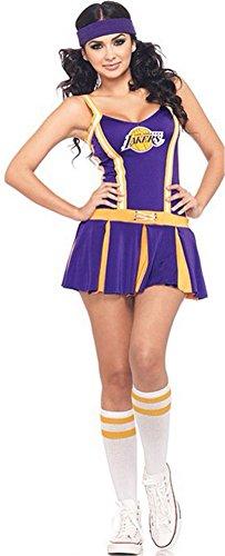 [BeautyXTP Women Sexy Lakers Cheerleader Costume Uniform Fancy dress Outfit (Blue)] (Football Player Halloween Costume Women)