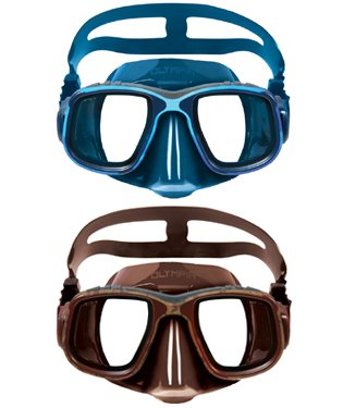 Mimetic Mask - Omer Olympia Camouflage Two Lens Mask for Spearfishing and Free Diving - Mimetic Colors (Brown Mimetic)