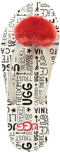 UGG Women's SIMI Fluff Manifesto Flip-Flop, Jasmine, 8 M US