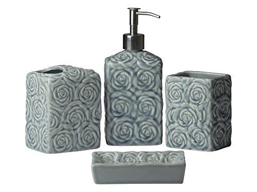 Comfify 4-Piece Wild Rose Ceramic Bath Accessory Set, Contour Grey