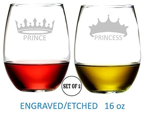 Prince and Princess Stemless Wine Glasses Etched Engraved Perfect Fun Handmade Gifts for Everyone Set of 2