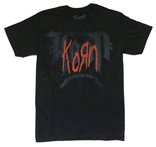 Korn Bakersfield CA California Red Logo Black T Shirt (S) (T-shirts Korn Printed)