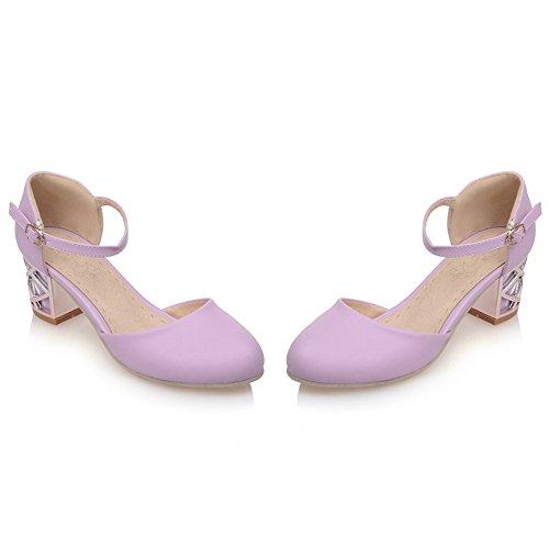 TAOFFEN Women Comfort Dating Block Heel Sandals Buckle Purple 84lTvOm