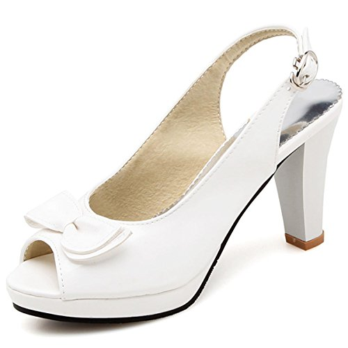 Pumps Heel Fashion Peep Sandals Chunky Summer 1 Slingback DoraTasia Buckle Women's Shoes High White Toe AqSx0nPEw