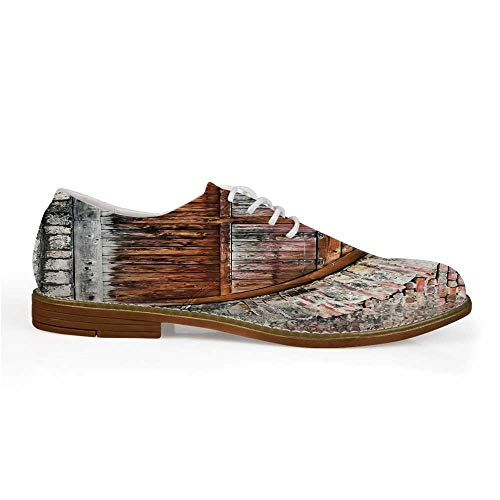 (Rustic Decor Stylish Leather Shoes,Photograph of A Brick Stone Rampart with Oval Gate with Dated Ancient Materials Art Print for Men,US 8)