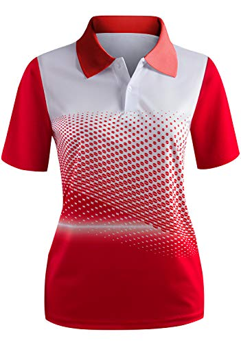 CLOVERY Quick Drying Active Wear Two Tone Short Sleeve 2-Button Polo Top Red XXX-Large (fits Like US XX-Large)