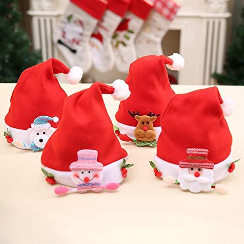 Reindeer Hat Craft - Craft Snowman Craft Santa 1pcs/lot Non-Woven Craft Cartoon Santa Snowman Reindeer Hat for Christmas Festival Party Decoration Childrens Caps JK293 (Random)