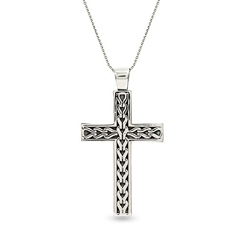 Filigree Religious Cross - LeCalla Men's Sterling Silver Jewelry Filigree Religious Big Cross Pendant with Cable Chain