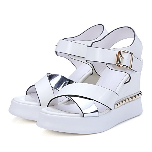 Sandali Heels Open Women's Agoolar Toe Buckle Assortiti Color High Bianco xqwfnaHnY