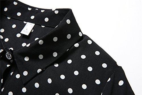 mode de premier ordre dernière vente remise chaude Luna et Margarita Robe Chemise Femme Noire et Blanche à Pois Manche Longue  Blouse Mi Longue Col Chemisier