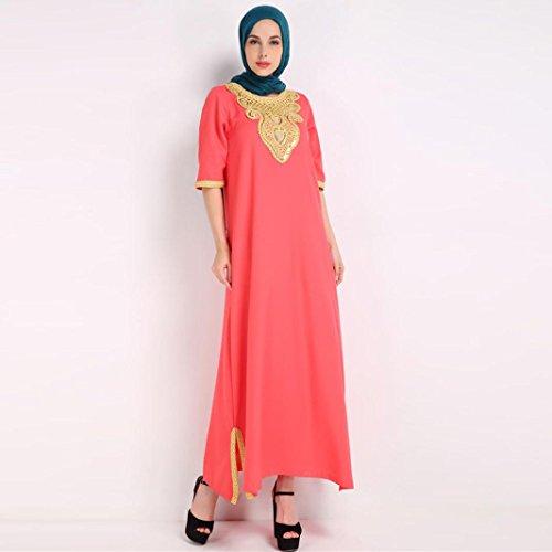 DOLDOA Vestido musulmán con el bordado para las mujeres Vestido islámico del rayo naranja