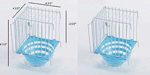 Lot of 2 Bird canary nest with metal hanging basket and door 4.5x4.5x6.5''H by RCI