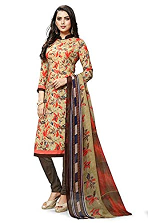 Hanoba Beige Leon Printed Unstitched Dress Material For Women