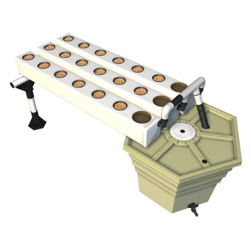 AeroFlo 18 - Hydroponic System - 18 Sites - 17-Gallon Reservoir - Includes 3 4 ft. Grow Chambers 3-inch Grow Cups Grow Media and Manifold - General Hydroponics (Hydroponic Systems Accessories)