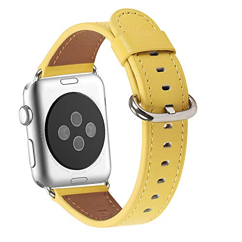 WFEAGL Compatible iWatch Band 38mm, Top Grain Leather Band Replacement Strap with Stainless Steel Clasp for iWatch Series 3,Series 2,Series 1,Sport, Edition (Yellow Band+Silver Adapter)