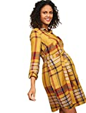 Motherhood Maternity Women's Maternity Plaid Button Down Shirt Dress with Waist Tie, Gold Plaid, Small