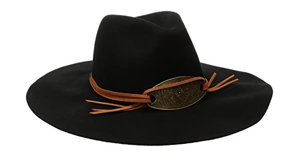 Women/'s Accessories WFH8026 San Diego Hat Company Womens Pinched Crown Floppy Fedora Hat with Metal Plate Trim Black One Size San Diego Hat Co
