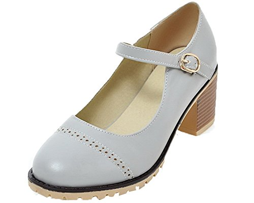 AgooLar Women's Solid PU Kitten-Heels Closed-Toe Buckle Court Shoes, Gray, 33