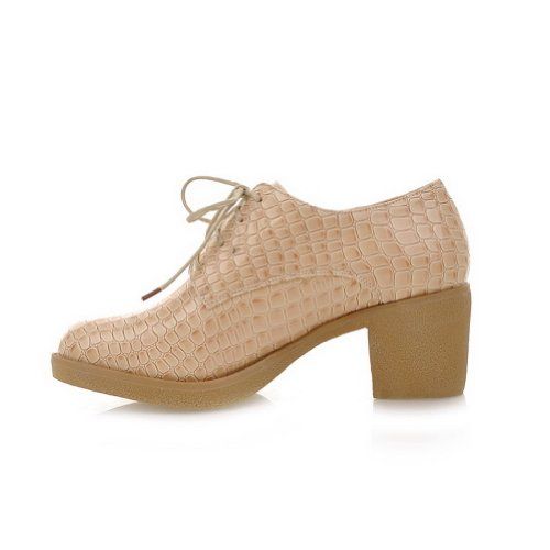 B Round Women's WeenFashion PU Pumps Low Apricot M Toe whith 5 Solid Bandage Square Heel 5 US Closed RZWnqWU