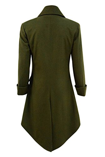 Very Last Shop Mens Gothic Tailcoat Jacket Black Steampunk Victorian Long Coat Halloween Costume (US Men-S, Army Green(Woolen)) by Very Last Shop (Image #3)