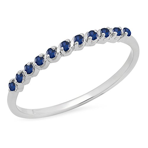 DazzlingRock Collection 0.12 Carat (ctw) Sterling Silver Round Blue Sapphire Ladies Wedding Stackable Band (Size 8) 0.12 Ct Natural