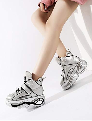 Cm Las Deporte Bajo Plata Zapatos Con Moda Liangxie De Mujer 8 Cuña Aumento Zapatillas Plataforma Informal 1RYOqI