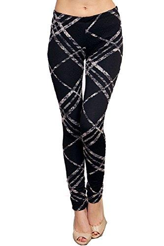 E4U Women's Rebel Plaid Inspired Design Comfy and Soft Lggings by E4U