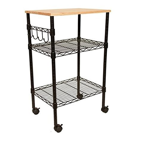 Multi-Purpose Rolling Cart. Wood top, Utility Cart With Height Adjustable Shelf. For Your Office Or Kitchen To Provide Storage, On Wheels For Easy Moving. Kitchen Cart with Cutting Top. Shelving in Carts Offers More Space for You To Work Easily.