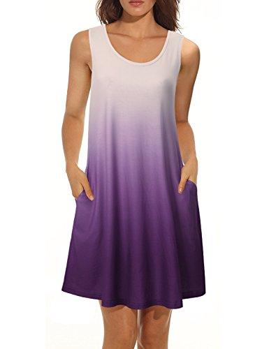 Tank Top Knit Pattern (Vivilli Women's Tie Dye Sleeveless Casual Loose T-Shirt Dress Swing Tunic Tank Top Violet X-Large)